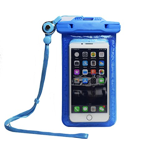 Pro-traveller Waterproof Phone Pouch Anti-Dust Case Dry Bag with Flexible Rope Buckle Lanyard Anti-hypothermia Personality Design Apply to iPhone Android for Outdoor Travel Swimming Skiing (Blue)