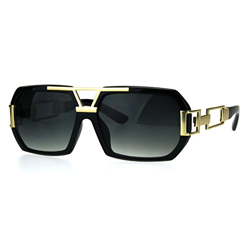 Mens Mafia Luxury Geometric Chain Bling Baller Hip Hop Sunglasses Black Gold - Glasses Sun Hip Hop
