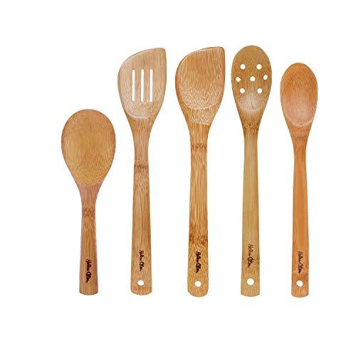 Helen's Asian Kitchen Essential Stir Fry Utensil Set, 5-Piece, Natural Bamboo
