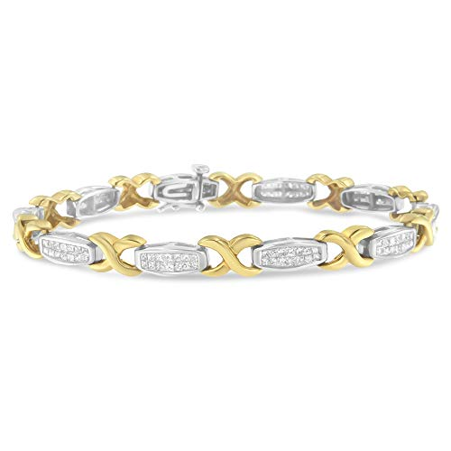 (Original Classics 14K Two-Tone Gold Princess-Cut Diamond X-Link Bracelet (2.00 cttw, H-I Color, SI2-I1)