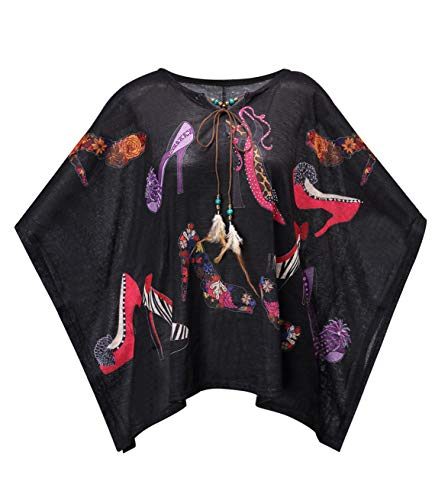 (Women's Bohemian Floral Printed Blouse Casual Batwing Hippie Blouse Caftan Poncho Tunic Top Shirt with Rhinestone (Free, Black high)