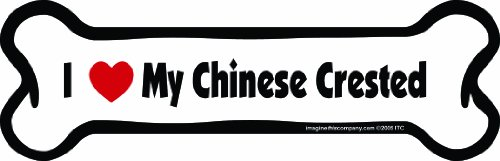 Imagine This Bone Car Magnet, I Love My Chinese Crested, 2-Inch by 7-Inch