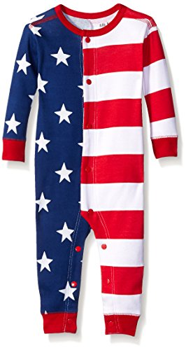 Little Blue House by Hatley Unisex Baby Union Suits, USA Flag, 3-6 Months