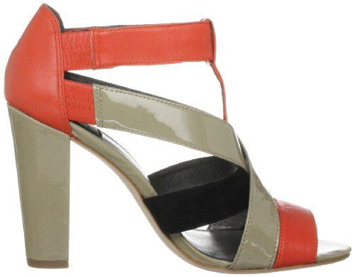 Calvin Klein - Sandalias de cuero para mujer negro - Noir/orange/sable
