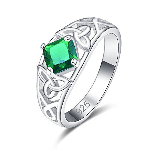 (Humasol 925 Sterling Silver Filled Princess Cubic Zirconia Emerald Quartz Engagement Band Ring for Women Girls)
