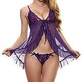 Women Lace Babydoll Lingerie Sheer Mesh Chemise Open Back Sleepwear Purple