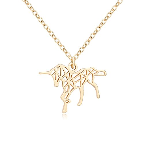 (TUSHUO Simple Running Unicorn Necklace Charm Hollow Unicorn Origami Pendant Necklace for Unicorn Lover (Gold))