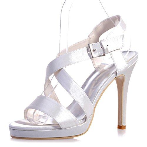 Donne Sera 5915 Tacco Bianco Raso Sandali Alto 22 Nuziale Nozze Da Open Di toe Delle Festa Pompa Scarpe Modaiolo 1q50aq