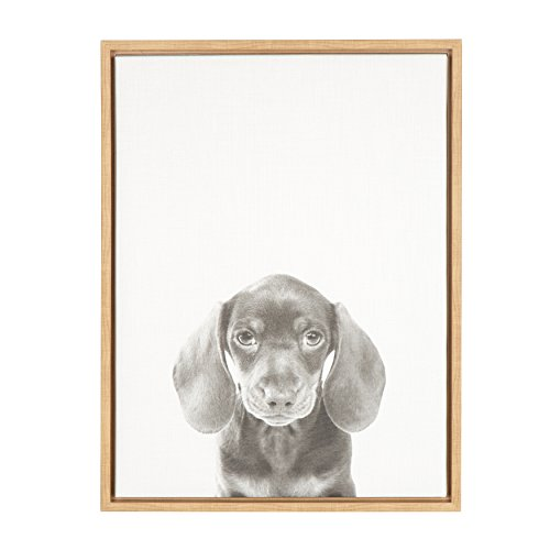 Kate And Laurel Sylvie Dachshund Puppy Black And White Portrait Natural  Framed Canvas Wall Art By Simon Te Tai