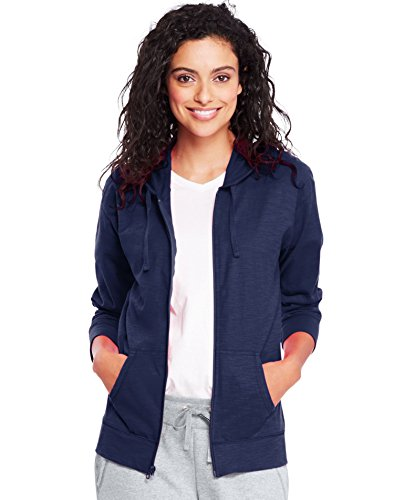 Hanes Women's Jersey Full Zip Hoodie, Navy, Medium
