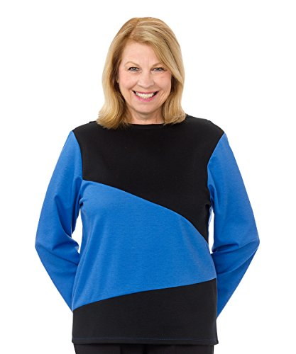 Silverts Disabled Elderly Needs Adaptive Top For Women - Terrific For The At Home Caregiver - Blue XL