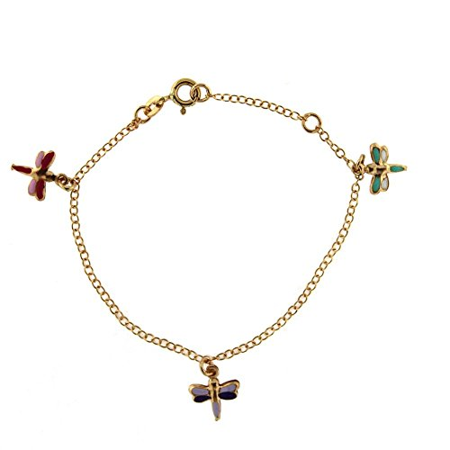 18K Yellow Gold Pink and Lilac Enamel Dragonfly Bracelet 6 inches by Amalia