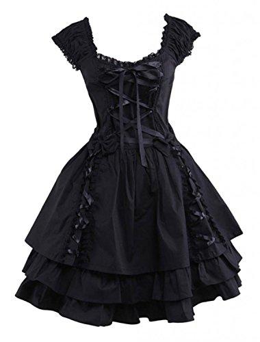 M4u Womens Classic Black Layered Lace-up Cotton Lolita Dress L (Lolita Dress)