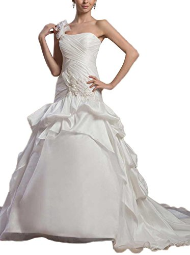 Albizia Mermaid/Trumpet Satin One Shoulder Dropped Waist Wedding (Dropped Waist Wedding Dress)
