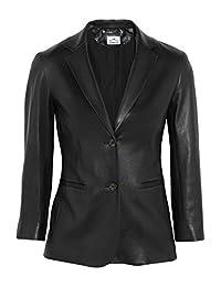 VearFit Women's Ferbilious 2-buttons Blazer Black Real leather jacket Plus size