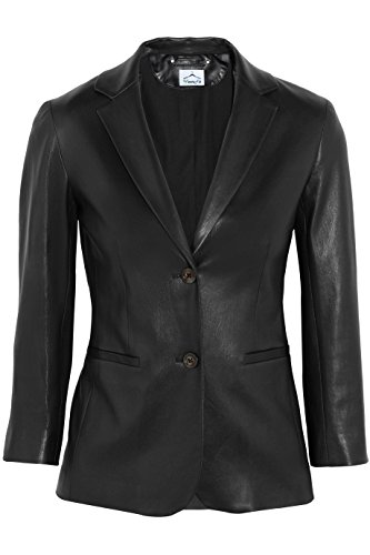 (VearFit Women's Ferbilious 2-Buttons Blazer Black Real Leather Jacket Plus Size)