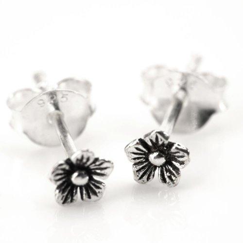 81stgeneration Women's .925 Sterling Silver Flower Small Studs Earrings