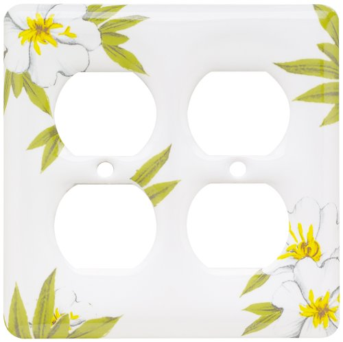 Porcelain Wall Plate - Brainerd 64527 Ceramic Double Duplex Wall Plate / Switch Plate / Cover, Magnolia