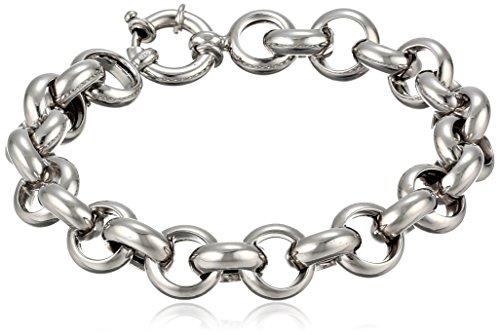 """Italian Sterling Silver Heavy Flat Rolo Bracelet, 8"""""""