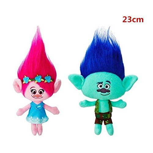 gg 2Pcs Movie Trolls Poppy & Branch Hug 'N Plush Doll Toy Set Gift 9'' 23CM by Plush Toy Doll