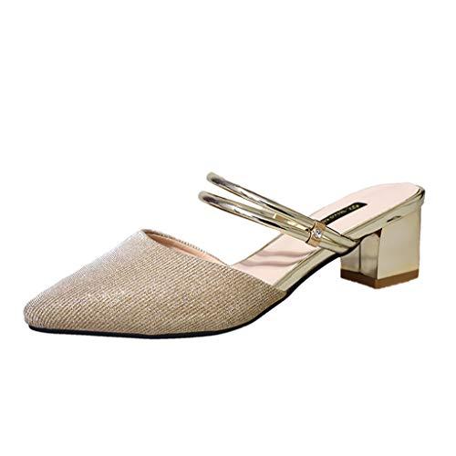 Nuewofally Women's Shoes Summer Pointed High Heel Buckle Strap Rhinestone Fashion Party Slim Elegant Sandals Gold ()
