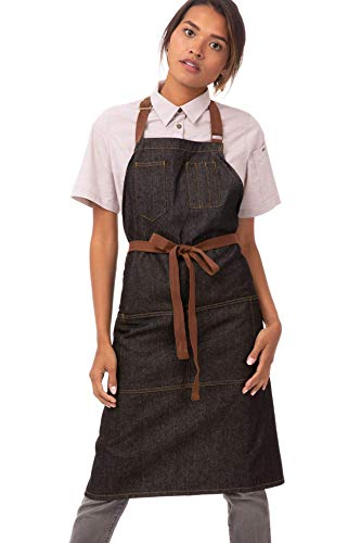 Chef Works Unisex Memphis Bib Apron, Black, One Size