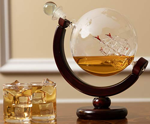 Olivia & Aiden Whiskey Decanter Globe with 8 Shot Glasses (Large 850 mL) World Map Liquor Dispenser | Unique, Vintage, Round | Bourbon, Scotch, Brandy, or Rum by OLIVIA & AIDEN (Image #5)