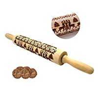 BELYNN Christmas Rolling Pin Engraved Carved Wood Embossed Rolling Pin with Christmas Symbols for Baking Embossed Cookies Kitchen Tool