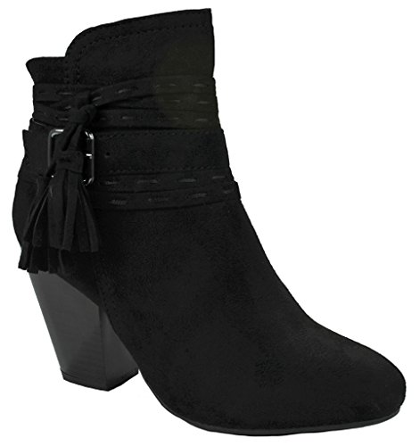 Gland Femme Décor Découpé / Galon Simili Cuir / Daim Zip Latéral Chunky Bottines À Talon Empilé Black_oliver