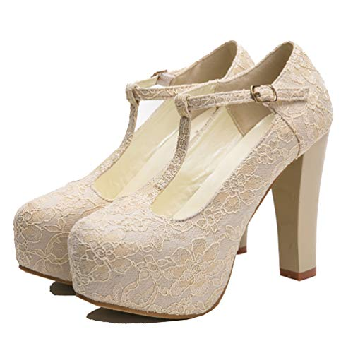 getmorebeauty Women's Marty Janes T-Strappy Lace Women Dress Wedding Shoes 10 B(M) US Ivory]()