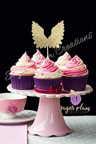 Set of 12 Angel Wings Cupcake Toppers