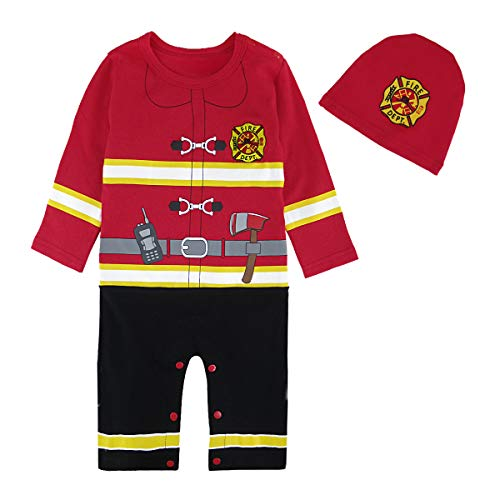 Cosland Baby Boys Halloween Costume Toddler Fireman Romper with Hat (Fireman, 12-18 Months) -