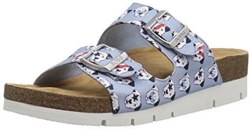 (Skechers BOBS Women's Pup Culture Double Strap Sandal w Memory Foam sockbed Slide, Light Blue, 6 M US)