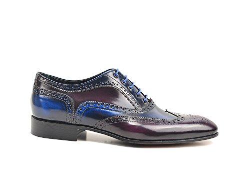 Unbekannt Fred - Blau Lila Poliertes Leder Herren Oxford Wing Brogue Ihre eigenen maßgeschneiderten Luxus blau lila polierten Leder Herren Oxford Flügel Brogue Schuhe, 100% Handarbeit in Italien
