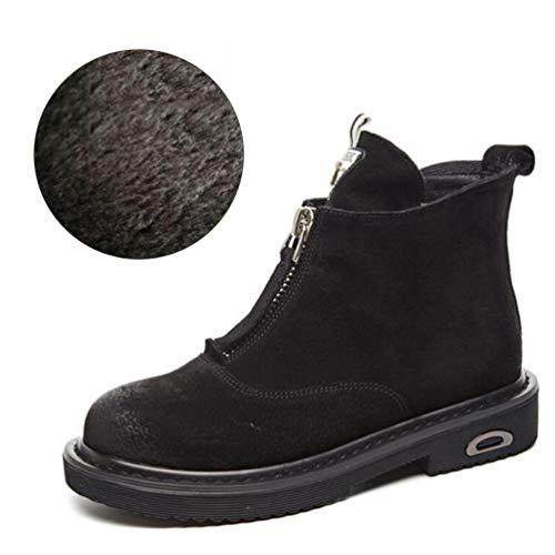 e644ed0cfb8 Chelsea Plate Femme Brinny Femmes Chaud Doublure Martin Bottes Boots  Bottines Cuir Hiver Talon Chaussures Noir ...