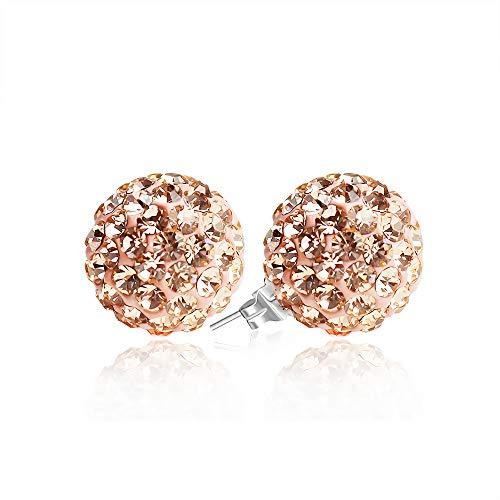 - 925 Sterling Silver Crystal Ball Stud Earrings 8mm Peach