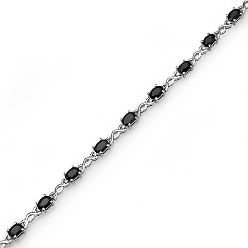 7ct tgw Sapphire Infinity Tennis Bracelet set in Sterling Silver (7 1/4 inches) by Amanda Rose Collection (Image #2)