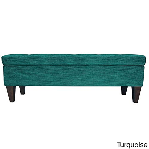 MJL Furniture Designs Brooke Collection Diamond Tufted Upholstered Long Bedroom Storage Bench, Lucky Series, Turquoise (Bedroom Furniture Collections)