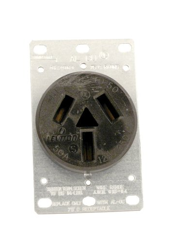 Leviton 5206 50 Amp, 125/250 Volt, NEMA 10-50R, 3P, 3W, Flush Mounting Receptacle, Straight Blade, Industrial Grade, Non-Grounding, Side Wired, Steel Strap, Black (Flush Receptacle Range)