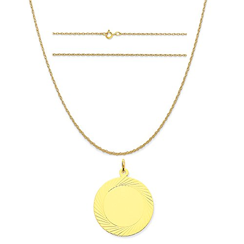 14k Yellow Gold Etched Design .027 Gauge Circular Engravable Disc Charm on Rope Chain Necklace, 16