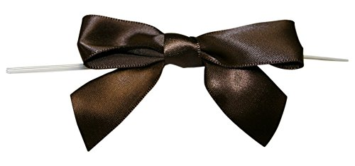 Reliant Ribbon Satin Twist Tie Bows - Large Ribbon, 7/8 Inch X 100 Pieces, Chocolate Brown