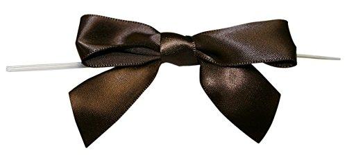 Reliant Ribbon 100 Piece Bow 3.25 Span X 2 Tails Twist Tie Ribbon, Chocolate Brown, 7/8