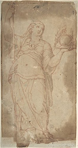 "Figure Holding a Spear and a Helmet Poster Print by Anonymous Italian 16th century (Italian active Central Italy ca 1550 ""1580) (18 x 24)"