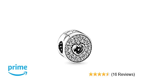 22f19158e Amazon.com: PANDORA Anniversary Celebration Charm, Sterling Silver, Clear  Cubic Zirconia, One Size: Jewelry