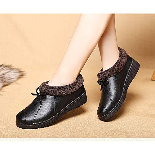 En Contre Le Avec Pour Femmes Froid Chaussures Peluche Cuir Noir Protection Femme Bozevon Chaussure L'hiver nqwgBtz8fx