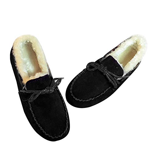 de forme légère mocassin Hiver de doublé noir chaude fourrure Slippers Women's et confortable Shoes Uirend en nRaqxO74wy