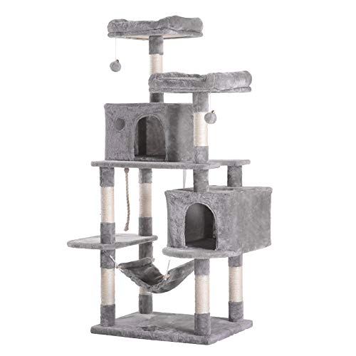 Hey-bro 61.5″ Extra Large Multi-Level Cat Tree Condo Furniture with Sisal-Covered Scratching Posts, 2 Bigger Plush Condos, Perch Hammock for Kittens, Cats and Pets