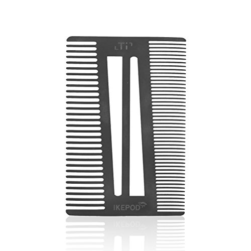 Pocket Size Titanium Alloy Beard Comb – Credit Card Size EDC Metal Wallet Comb for Trimming or Shaping Mustache and Beard Hair by IKEPOD