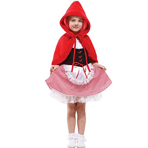 Captain Scarlet Costume Mens (HAPPYBABY Halloween Little Red Riding Hood Dress Cosplay Costumes For Toddler Girls)