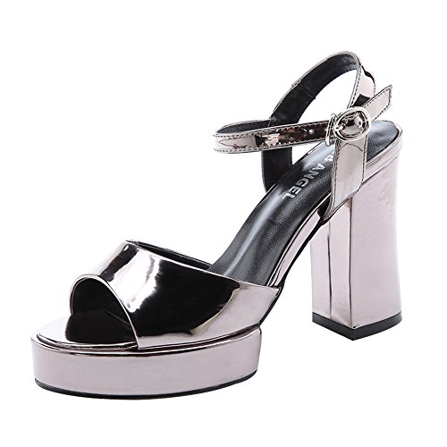Christmas T&Mates Women's Trendy Casual Peep-Toe Block Heel Ankle-Strap Sandals (7 B(M)US,Gun)